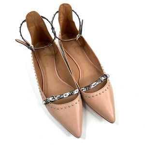 Coach | Nude & Snake Skin Flats Ankle Pointed Toe